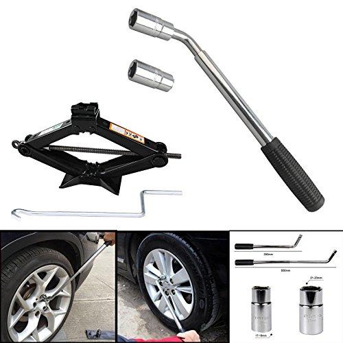 Universal Extendable Lug Wrench (17/19/21/23MM) + 2 Ton Scissor Jack Hand Screw Spare Tire Repair Tool Kit for Cars Vans Trucks Trailers