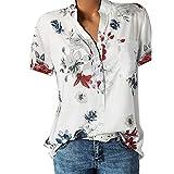 Siswong T Shirt Manche Courte Femmes, Chemise Poche Grande Taille imprimée à Manches Courtes Femme Col V Impression Imprimé Fleurs Sweatshirt Blouse T Shirt Tee en Vrac