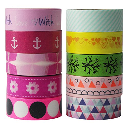 Uooom 10 pcs Washi Ruban adhésif de masquage ruban papier adhésif autocollant pour décoration Scrapbooking DIY de Noël Craft Cadeau