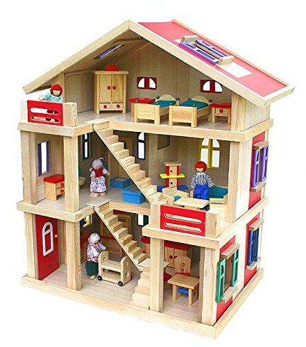 2222 Riesengroßes Puppenhaus Holz 54x37x69cm mit...