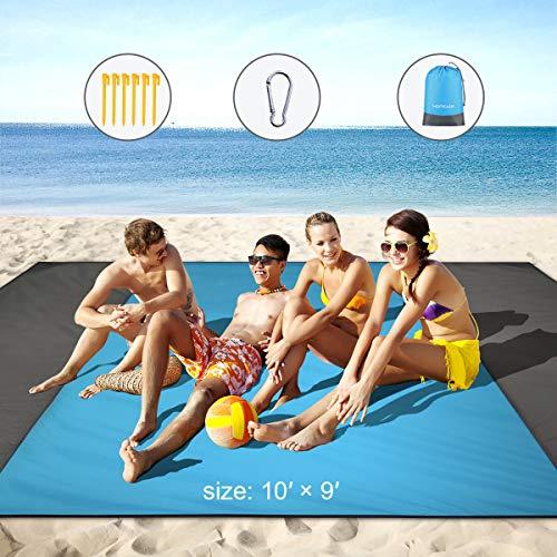 PAIPU Picknickdecke Wasserdicht 200x200cm XXL Sandfreie Stranddecke, Fleece wärmeisoliert Campingdecke mit Tragegriff, Groß Faltbar Picknick-Matte für Picknick, Strand, Outdoor (Beige)