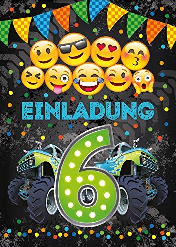 Junaversum 12 Einladungskarten zum 6. Geburtstag Kinder sechste Kindergeburtstag Auto Monster-Truck grün