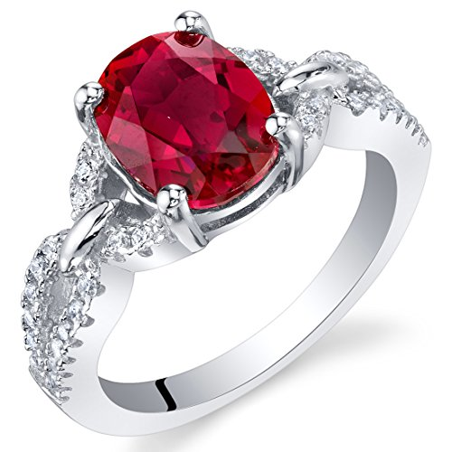 2.50 Carats Created Ruby Sterling Silver Forever Ring Size 8