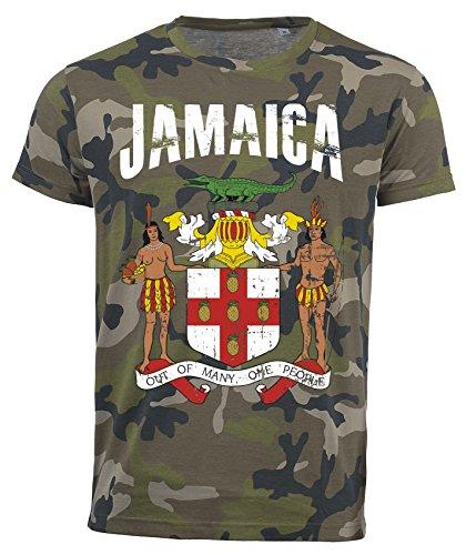 T-Shirt Jamaika Camouflage Army WM 2018 .- Vintage Destroy Wappen D01 (2XL)