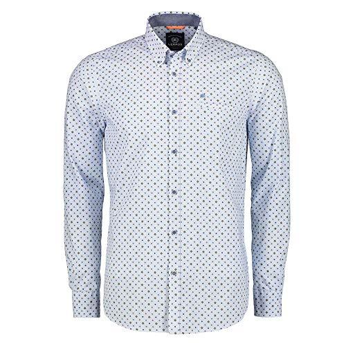 LERROS Men 2971111 361 Herren Hemd mit Button-Down-Kragen Brusttasche aus Baumwolle, Groesse 52/54, hellblau/grün Gemustert