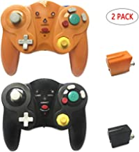Reiso for Wireless GameCube Controller 2.4G GC Controller with Receiver Adapter Compatible Nintendo Gamecube Wii(Black and Orange)