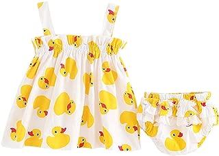 Fairy Baby Infant Baby Girls Duck Print Summer Tops Vest Shirt Dress+Ruffle Panty Short Set