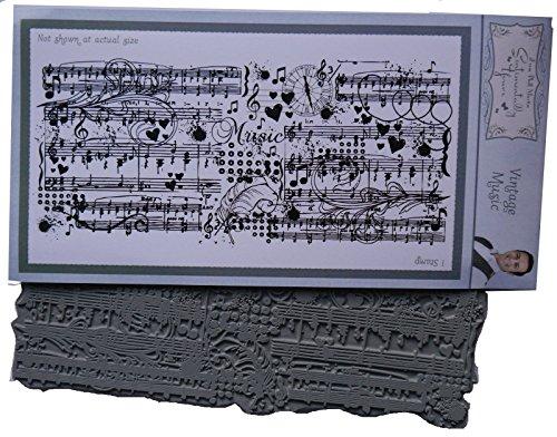 SENTIMENTALLY Yours von Phill Martin Vintage Musik Collage Hintergrund Stempel, Gummi, Grau, 10,2x 21x 0,8cm
