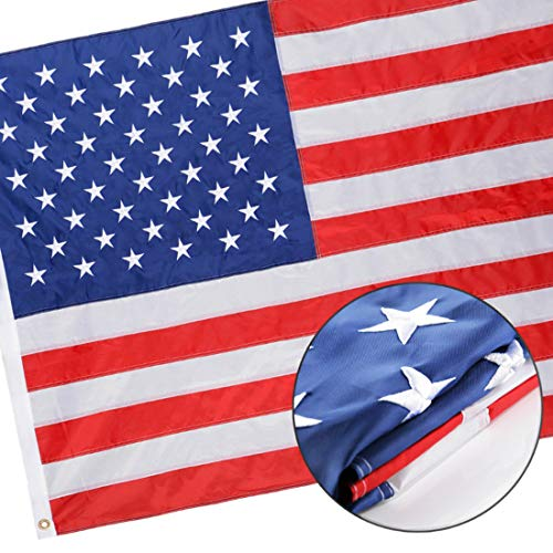 Winbee Embroidered American Flag 3x5 ft - Heavy Duty Nylon US Outdoor Flagswith Embroider Stars, Sewn Stripes, Brass Grommets and UV Protected. Best Indoors Outdoors USA Flag 3x5