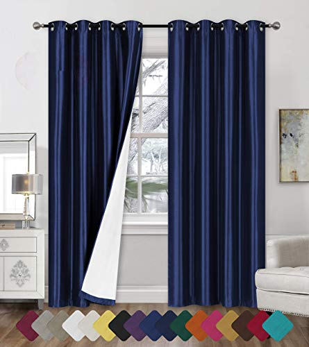 "Faux Silk Blackout Curtains - 2-Panel Sets of 54x84 Room Darkening Black Out Curtains for Bedroom - Durable Thermal Insulated, Sun and Sound Blocking Dark Window Curtain - (FS3, 84"", Royal Blue)"