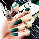 MISUD 24pcs Pointed Flase Nails Matte Dark Green Stiletto Press-on Nails Artificial Medium Length Fake Nails for Fashion Party - Secret Forest
