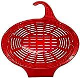 Hanging Red Colander - 3 Quart, Oval Plastic Strainer for Kitchen Sink - Sold by Arron Kelly