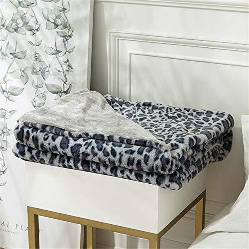 Toalla de sofá clásica Lanzar, Multifunción Espesar Manta de aire acondicionado Suave Calentar Cómodo Lujoso Patrón de leopardo para Siesta Sala Casa Decoración Cuatro estaciones,Azul,160x200 CM