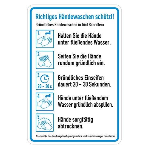 Hinweisschild Anleitung Aufkleber Richtiges Händewaschen schützt!, Folie selbstklebend, 135 x 200 mm Hygieneplan Handhygiene