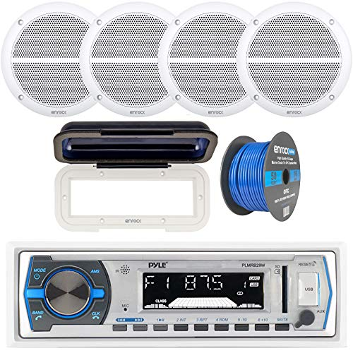 """Pyle Single DIN Marine Boat USB/SD Bluetooth Stereo Receiver Bundle Combo with Waterproof Cover, 4 x Enrock 6.5"""" Full-Range White Audio Coaxial Speakers, Enrock 50Ft 16g Speaker Wire"""