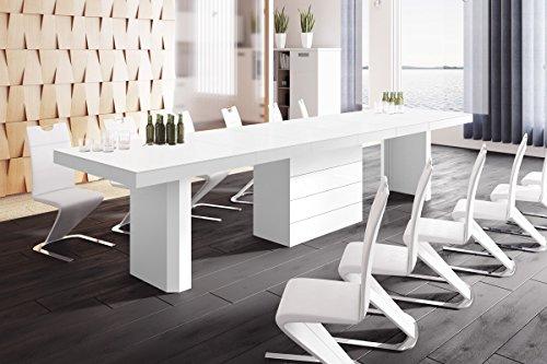 HU Design Konferenztisch HE-444 XXL ausziehbar in 8 Farben erhältlich 160 bis 412 cm (Weiß Matt/Hochglanz Kombination)