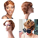 Pobokix Finger Wave Wig Human Hair Pixie Cut Wig Short Curly Virgin Hair Wigs Mommy Wigs Short Classic Wig for Black Women (Short Finger Wave, 30)