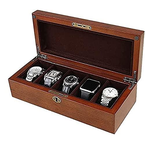 KMDJ Caja de Almacenamiento Caja de Reloj de Madera, Soporte de exhibición/Caja de Almacenamiento para Relojes de joyería, Caja 5 cuadrículas Caja de exhibición Titular de Accesorios para Relojes, p