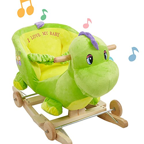 Lucky Tree Rocking Horse Toys Baby 2-in-1 Wooden Plush Rocker Seat Ride-On Stroller with Seat Belt, Green Dinosaur