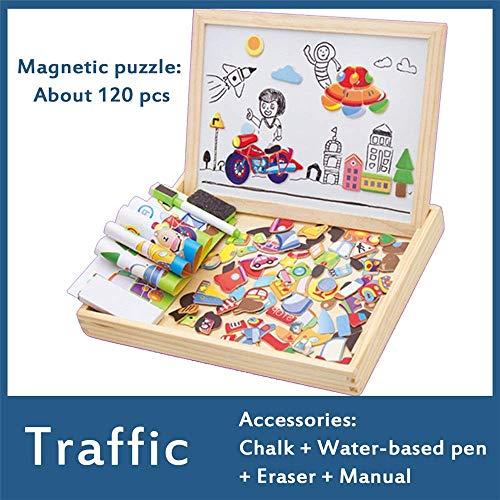 AJH Blokken Magnetische puzzel Dubbel formaat Schildersezel Tekening Schrijfbord Kind Houten speelgoed Schetsblok Cadeau Kinderen Meerkleurig Optionele bouwstenen Set