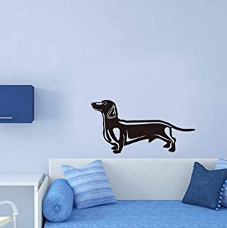 Dalxsh Lovely Sausage Dog Vinyl Wall Sticker Bedroom Wall Paper Kids Room Wall Decals Cute Puppy Home Decor Pet Shop Decal 31x59cm