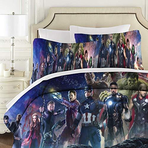 The Avengers - Colcha acolchada de patchwork para cama de tamaño superking, 3 piezas, 100% algodón con fundas de almohada reversibles