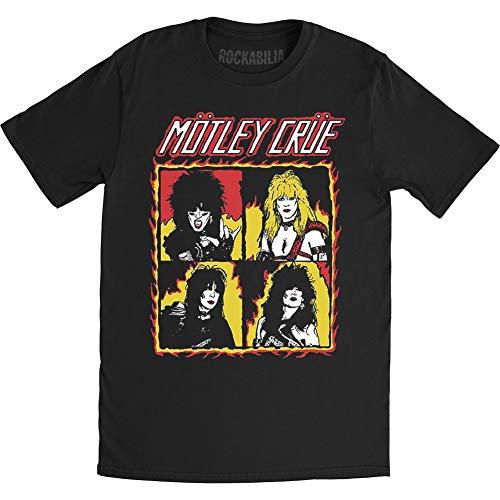 Motley Crue T-Shirt Shout At The Devil Flames da Uomo in Nero