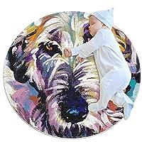 ソフトラウンドエリアラグ 100x100cm/39.4x39.4IN 滑り止めフロアサークルマット吸収性メモリースポンジスタンディングマット,アイリッシュウルフハウンド犬