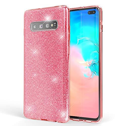 NALIA Hülle kompatibel mit Samsung Galaxy S10 Plus, Glitzer Handyhülle Ultra-Slim Silikon-Hülle Back-Cover Schutzhülle, Glitter Sparkle Handy-Tasche Bumper Dünnes Bling Strass Etui, Farbe:Pink