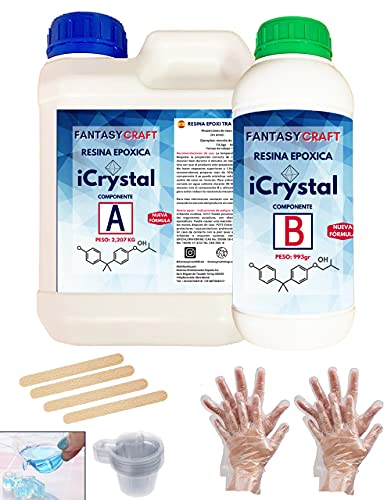 3,2 Kg. I-CRYSTAL RESINA EPOXI Para Manualidades y arte, encapsulados, mejor calidad/precio, resina...