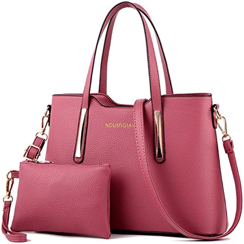 SJZ TECH Women's PU Leather Shoulder Bags TopHandle Handbag Tote Bag Simple Purse Fashion Cross Body Bag 2pcs set
