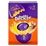Imported from the UK for Easter, Cadbury's Double Decker Easter Egg is a large size, hollow milk chocolate egg with 2 delicious Double Decker candy bars inside. Cadbury's Double Decker is milk chocolate with smooth chewy nougat and a crisp, crunchy c...