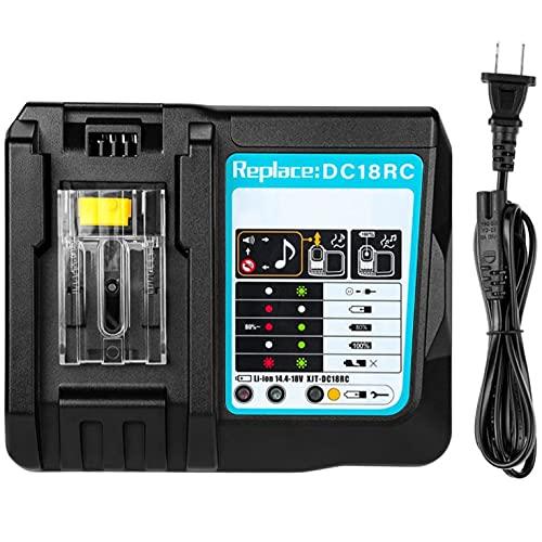 QiKun-Home Cargador de batería Recargable Universal de Iones de Litio de 14,4-18 V Herramienta eléctrica para estación de Carga Makita DC18RCT Negro UE