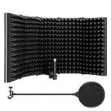 Bouclier d'isolation de microphone pliable 59 * 11.5cm, Ecran acoustique pour microphone avec filtre anti-pop, flexible et durable, dépliable en 5 panneaux absorbants