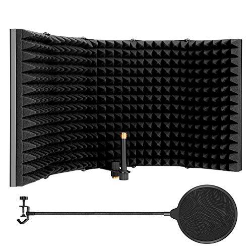 AGPtEK 5 Fach Faltbares Mikrofonisolationsschild, Absorbierend, Faltbar, mit Mikrofon-Pop-Filter, Flexibel & Langlebig, für Alle Kondensator-Mikrofon-Aufnahmegeräte (5 Fach Faltbar, Größere Version)