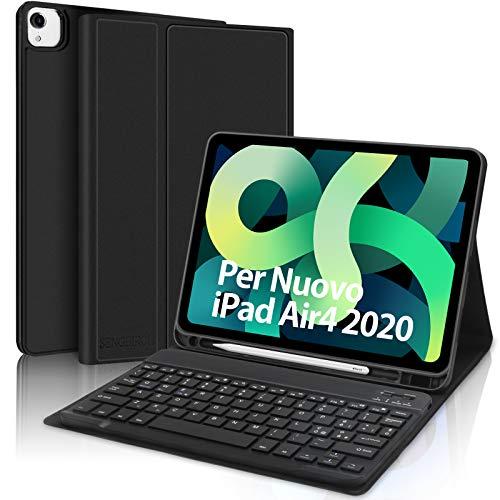 SENGBIRCH Custodia con Tastiera Per iPad Air 4 2020 10.9 Pollici/iPad Pro 11 2021/2020/2018, Italiano Bluetooth Tastiera Rimovibile con Portapenne, Ultra Sottile Cover Auto Sveglia/Sonno, Nero