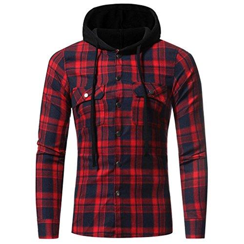 Sannysis Warme Sweatshirt Hoodie Kapuzenpullover Herren Herbst Winter Langarm Plaid Kapuzen Shirt Top Bluse (Rot, M)