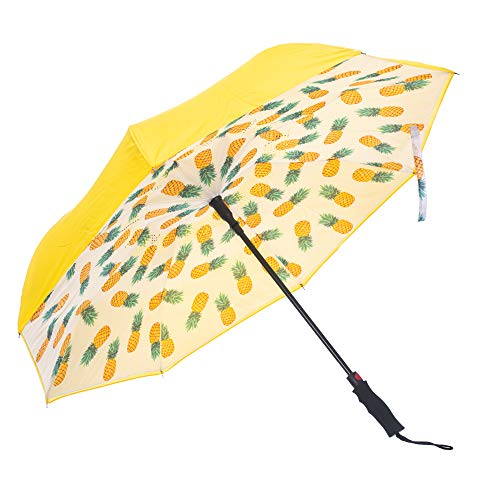 Auto Open Pineapple Tropical Polyester and Fiberglass Inverted Straight Handle Umbrella