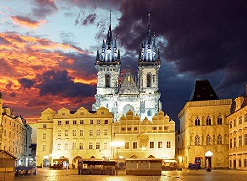 Casco antiguo checo por la noche Puzzle de Madera de 1000 Piezas para Adultos Rompecabezas para Niños Adolescentes Regalo Cumpleaños Navidad para Niños Adultos