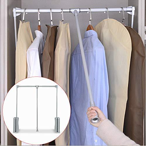 Schranklift AufhäNger 10Kg Kleiderlift Garderobenlift Kleiderstange Kleiderschrank HäNg KleiderstäNder Lift Kleiderschranklift Silber