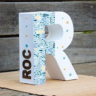 Letra decorada ideal para bebés y niños. Para decoración de habitaciones, comedor o estanterías. Nombre personalizado en e...