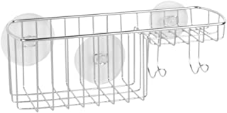 iDesign Milo Suction Bathroom Shower Combo Basket for Shampoo, Conditioner, Soap - Chrome