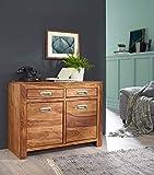 KS-Furniture Sideboard Mumbai Massivholz Sheesham Kommode 90 cm 2 Schubladen 2 Türen Design Highboard Landhaus-Stil braun Natur