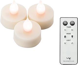 新品 WY LEDティーライトキャンドル 3.9cm リモコン付き ボタン電池付き 自動タイマー WY-LEDSET007 (ホワイト, 3個)