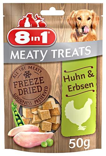 8in1 Meaty Treats, gefriergetrocknete Hunde Leckerlis mit Huhn & Erbsen, getreidefrei und ohne Zucker (1 Beutel, 50 g)