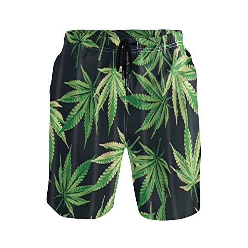 LISNIANY Bañador Hombre,Planta De Marihuana Cannabis Hojas En Negro,Natación Secado Rápido Malla Pantalones Imprimiendo Cortos(XL)