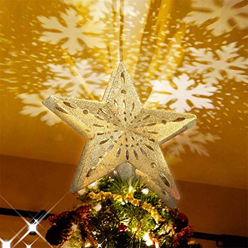 ZZYYFC Christmas Tree Topper,with Led Rotating Snowflake Projector Lights 3D Hollow Silver Star Snow Tree Topper for Christmas Tree Decorations Golden