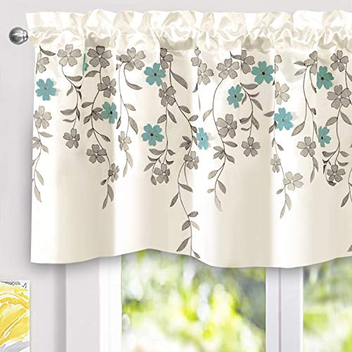 DriftAway Isabella Faux Silk Embroidered Kitchen Swag Valance Embroidered Crafted Flower Single 60 Inch by 24 Inch Plus 1.5 Inch Header Ivory Blue