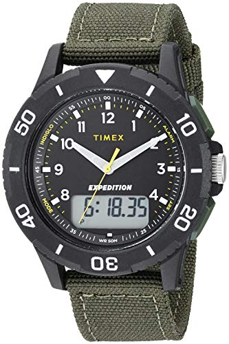 Timex Men's TW4B16600 Expedition Katmai Combo 40mm Green/Black Nylon Strap Watch