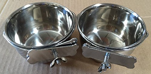 "Mcage Lot of 2 Bird Parrot Cage Stainless Steel Seed Water Feeder Cups - 4"" (4"")"